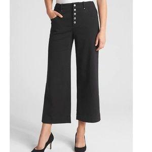NWT Gap High Rise Crop Wide Leg Pants 4 Black v608